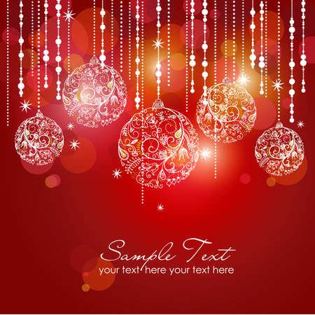 holiday background: Red card with christmas balls, vector illustration  Stock Photo