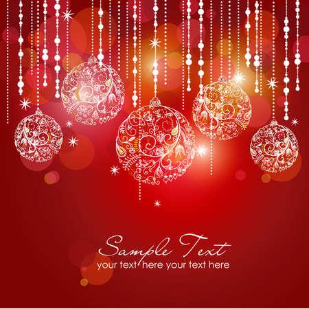 invitación a fiesta: Tarjeta roja con bolas de navidad, ilustración vectorial