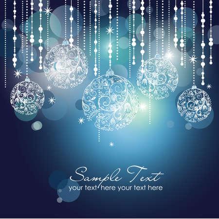 invitacion fiesta: Navidad azul de fondo con adornos de Navidad Foto de archivo