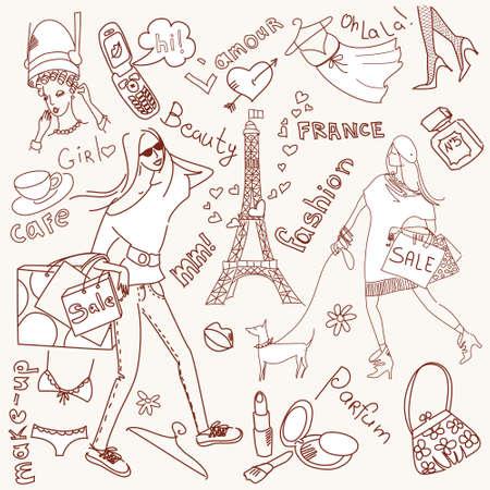 Girly doodles, Shopping in Paris  Zdjęcie Seryjne