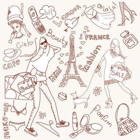 fashion sketch: Girly doodles, Shopping in Paris  Stock Photo