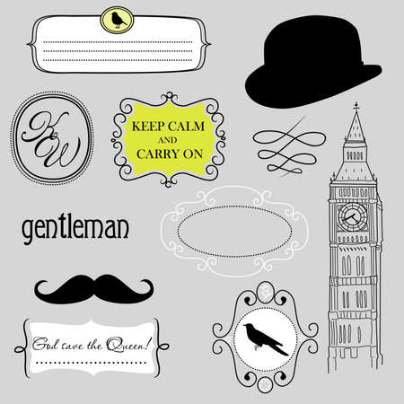 british man: Keep calm and carry on. Doodle frames in British style