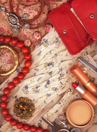 Textile background, feminine world. photo