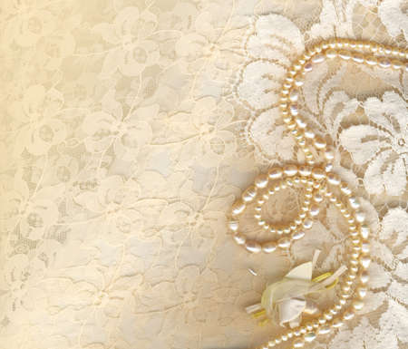 wedding photo album: Wedding background with cream silky decoration accessories, lace and pearls Stock Photo
