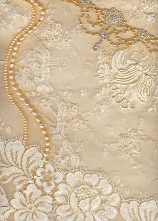 bead embroidery: Luxury wedding background with plenty of copy space Stock Photo