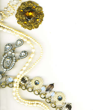silver jewelry:  jewellery border Stock Photo