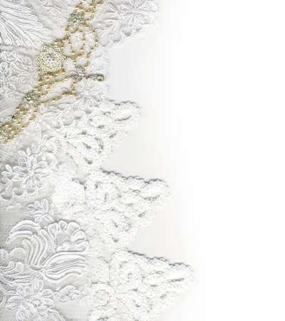 순수한 백색 호화스러운 결혼 국경