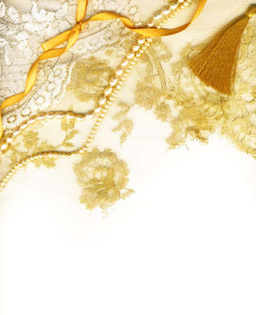 Golden textile wedding border photo