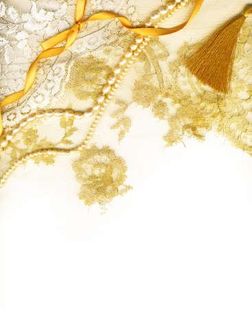 Goldene Hochzeit textile border Standard-Bild - 11604983