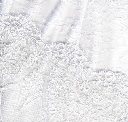 lace fabric: Beautiful pure white textile wedding background Stock Photo