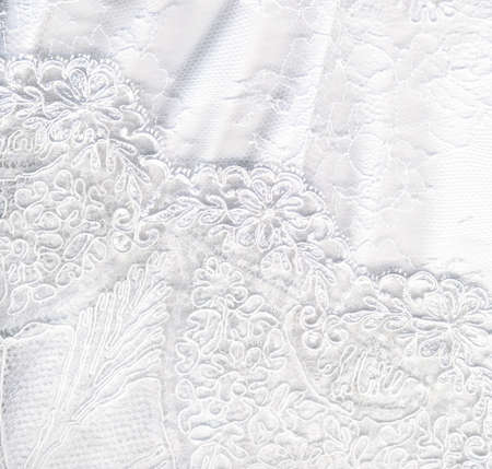 Beautiful pure white textile wedding background Archivio Fotografico