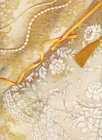 bead embroidery: Golden textile wedding border Stock Photo
