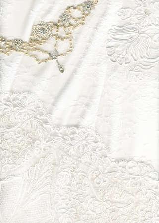 bead embroidery: Beautiful white textile wedding background
