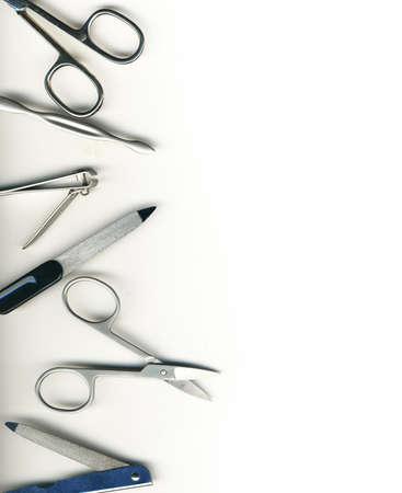pedicure: Set per manicure su sfondo bianco isolato