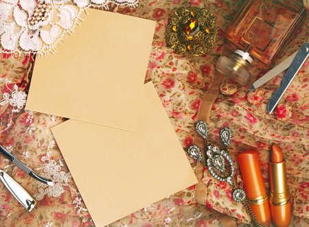 Textile background, feminine world. Stock Photo - 11580377