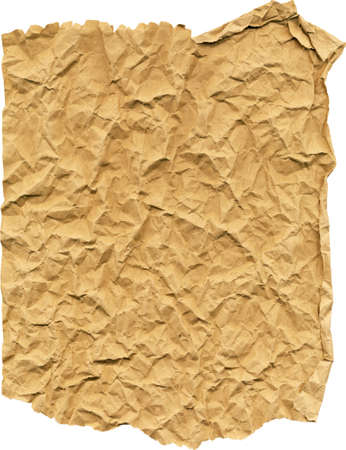 ripped brown paper crumpled up on a white background photo