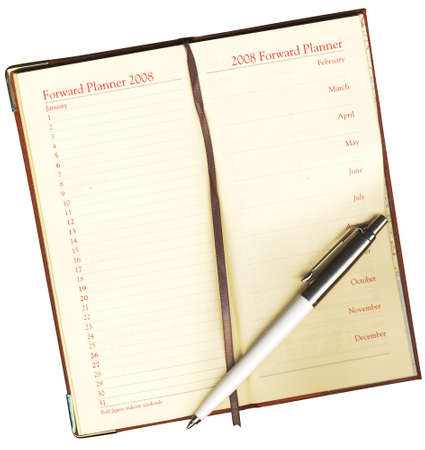 contact sheet: Forward Planner with a pen on a white background  Stock Photo