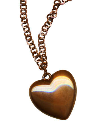 bronze heart, isolated on white background photo
