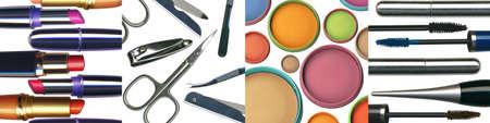 set of make-up images(face powder, mascara, scissors and lipsticks) Stock Photo