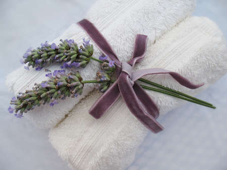 two towels and lavander Stock Photo