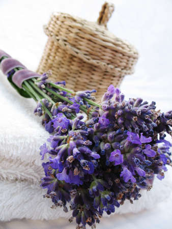 Close up Lavander, towels and a little box Stock Photo - 11578945