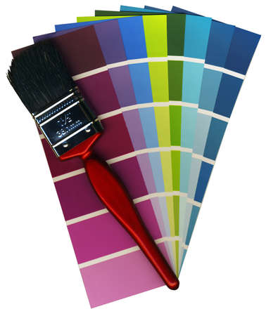 Fashionable colours of paint swatches, and a brush on a white background isolated photo