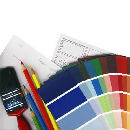 color swatches and plans on white background isolated Stock Photo