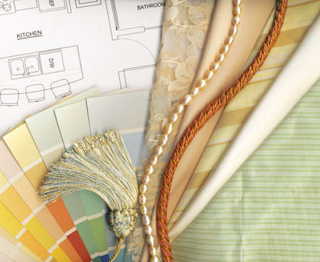 cream color: color and textile swatches