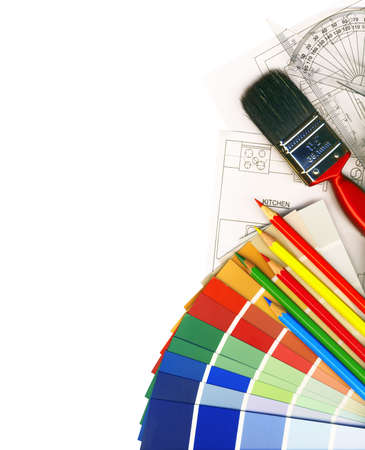 color swatches and plans isolated on white