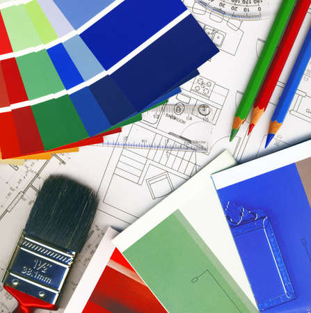 home remodel: background made of color swatches and plans Stock Photo