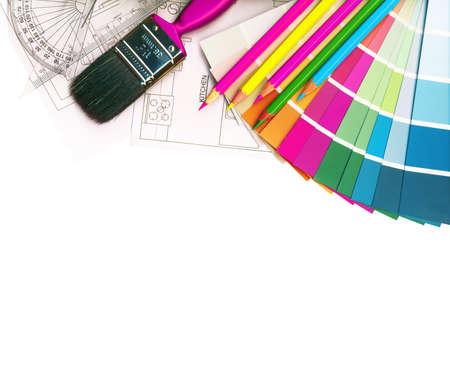 paleta de pintor: muestras de color y los planes aislados en blanco