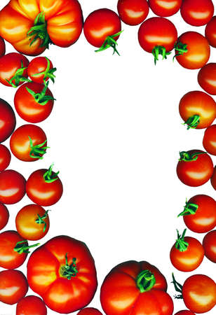 bright red tomatoes isolated on a white background Stock Photo