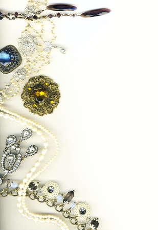 fake diamond: Vintage jewellery border
