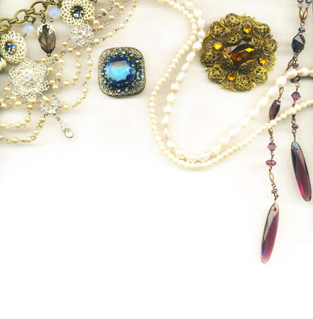 Vintage jewellery border photo