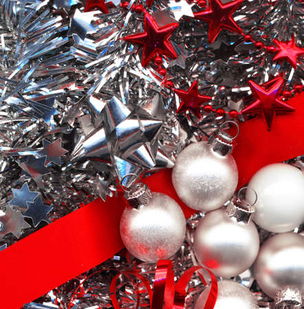 solemnity: Different christmas decorations in red and silver colors