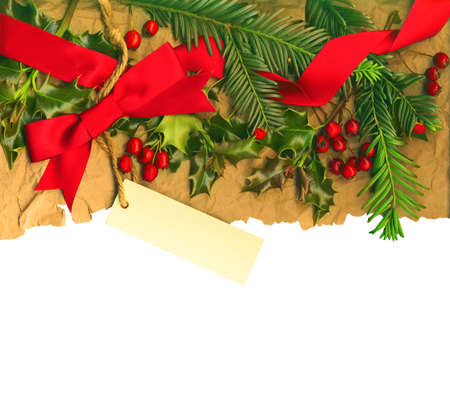 Vintage Christmas border with empty tag isolated on white background Stock Photo - 11563687