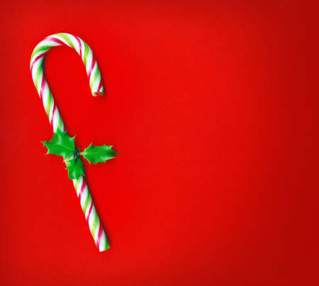 Candy cane with pretty holly leaves on red background, candy cane photo