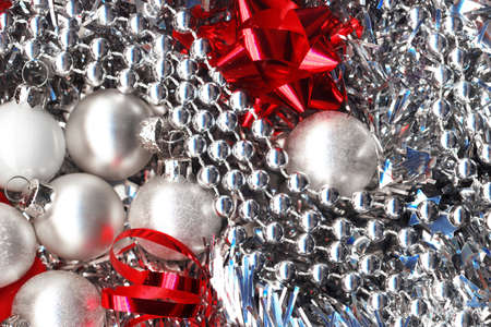 Silver and Red. Christmas decorations photo