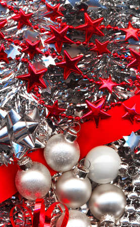 solemnity: Different christmas decorations in red and silver colours