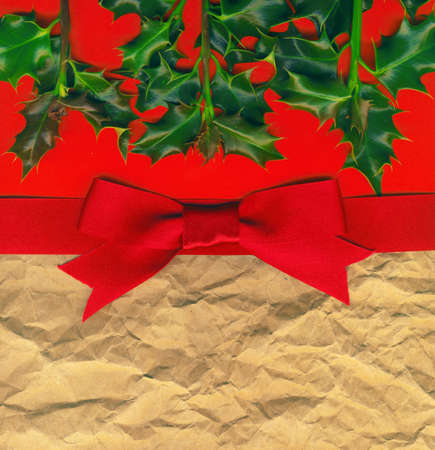Christmas Card with Holly and Red Bow photo