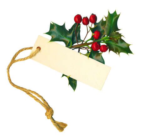 a sprig of holly with a label isolated on a white background.  photo