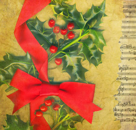 victorian wallpaper: Christmas card with holly and red bow