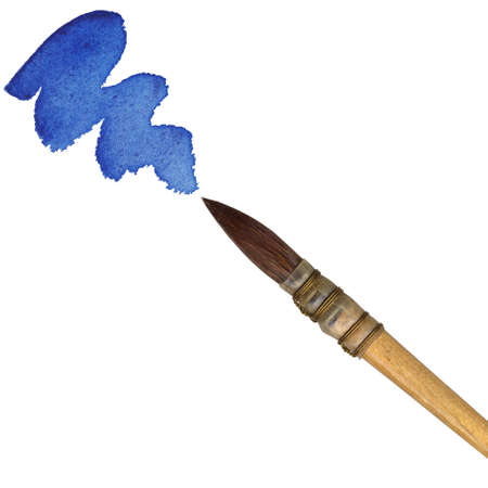 Paintbrush with blue paint, isolated on white background photo