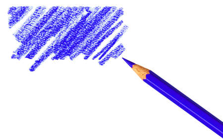 dribble: Pen with scribbles on white background. Text can be entered on colored area.  Stock Photo