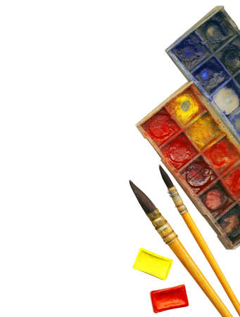 Creative Art Background made of old paint brushes, palette and other tools for drawing photo
