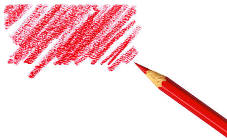 entered: Pen with scribbles on white background. Text can be entered on colored area. Stock Photo