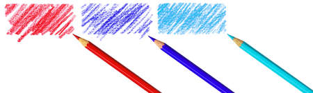 Pen with scribbles on a white background. Text can be entered on colored area.  photo