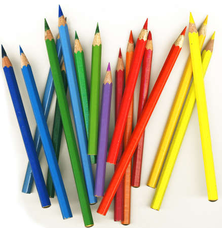 thick colored pencils on white background, isolated Stock Photo