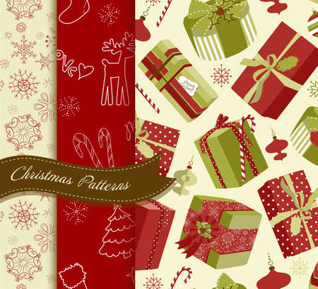 Set of Retro Christmas patterns  Stock Vector - 12494288