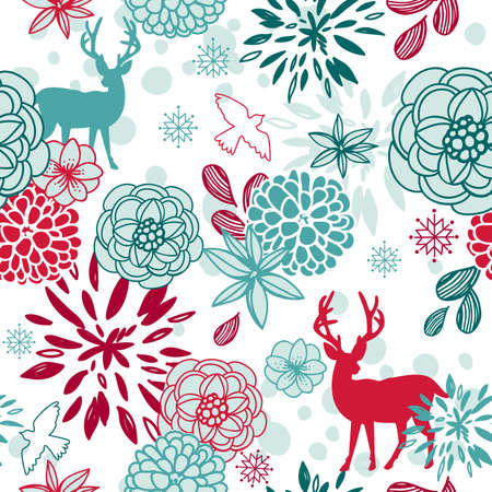 Christmas floral seamless pattern with deers and birds  Vector
